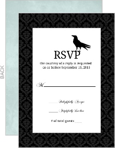 Blue Damask Crow Halloween Response Card