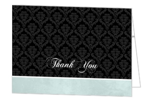 Blue Damask Crow Halloween Thank You Card