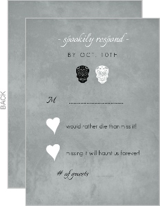 Gray Formal Skulls Wedding Response Card