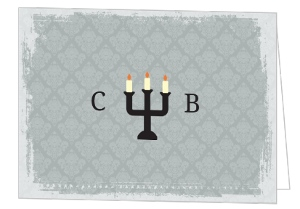 Fancy Gray Candles Halloween Thank You Card