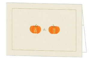 Pumpkin Initials Tan Halloween Thank You Card