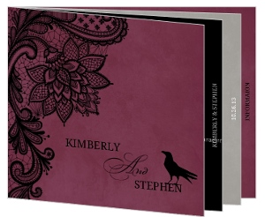 Elegant Lace Dark Purple Halloween Wedding Invitation