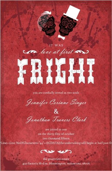 Dia De Los Muertos Bride Groom Red Halloween Wedding Invitation