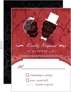 Dia de los Muertos Bride Groom Red Halloween Response Card