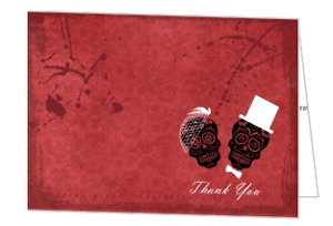 Dia de los Muertos Bride and Groom Red Halloween Thank You Card