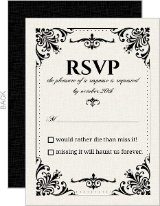 Classic Ecru Black Flourishes Halloween Response Card