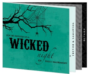 Turquoise Black and Gray Halloween Wedding Invitation