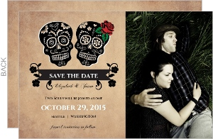 Rustic Skulls Day Of The Dead Halloween Save The Date Announcement