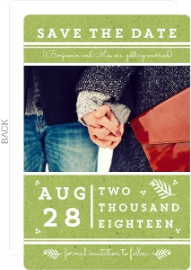 Modern Green and White Stripes Save The Date