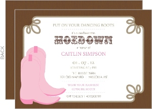 Pink Dancing Boots Bachelorette Party Invitation