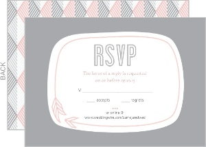 Modern Pink Geometric Pattern Wedding Response Card