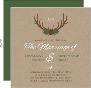 Rustic Woodland Antlers Wedding Invitation