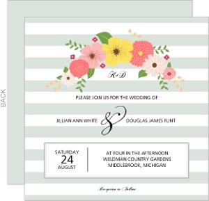 Dark Mint Vintage Floral Stripes Wedding Invitation