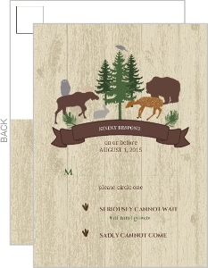 Woodland Animals Woodgrain Wedding Response Card