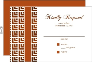 Geometric Rustic Copper Pattern Wedding Response Card