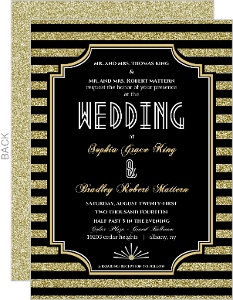 Gold Glitter 1920s Vintage Wedding Invitation