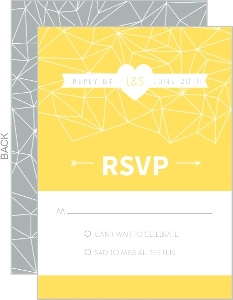 Lemon and Gray Triangular Modern Response Card