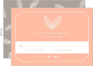 Gray Brown Feathered Modern Response Card