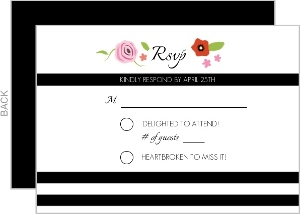 Flowers Black Stripes Response Card