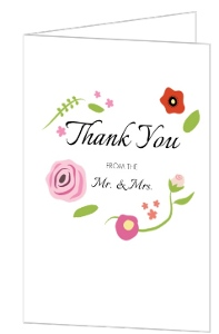 Flowers and Black Stripes Thank You Card