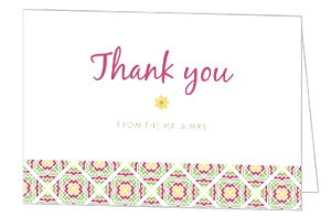 Pink and Green Cacti Thank You Card