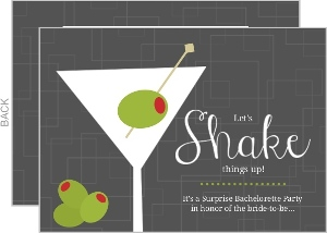 Gray Shaken Martini Bachelorette Party Invitation
