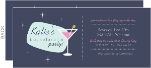 Retro Martini Bachelorette Invitation
