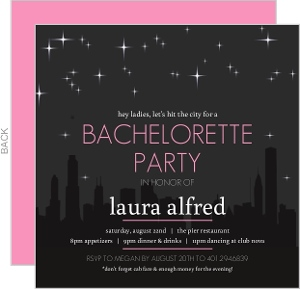 Skyline Bachelorette Party Invitation