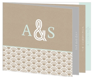 Bold White Scallop Pattern Kraft Wedding Invitation