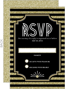 Gold Glitter 1920s Vintage Wedding Response Card