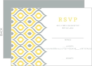 Yellow Ikat Pattern Wedding Response Card