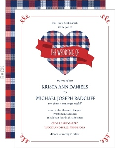 Whimsical Plaid Heart Wedding Invitation