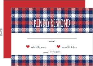 Whimsical Plaid Heart Wedding Response Card