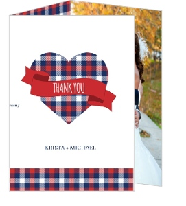 Whimsical Plaid Heart Wedding Thank You Card