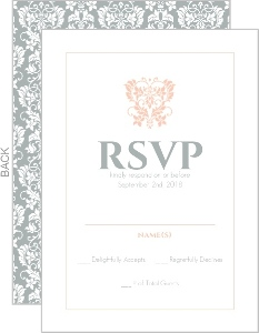 Peach and Grey Damask Wedding Response Card