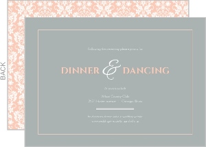 Peach and Grey Damask Wedding Reception Card