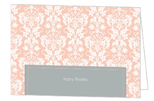 Peach and Grey Damask Wedding Thank You Card