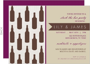 Repeating Bottles Berry and Brown Couples Shower Invitation