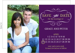 Royal Purple and Green Calendar Save The Date