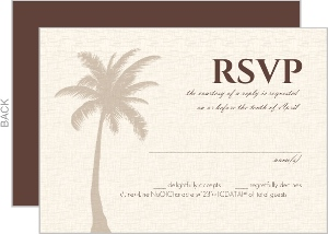 Textured Tropical Palm Tree Wedding Response Card