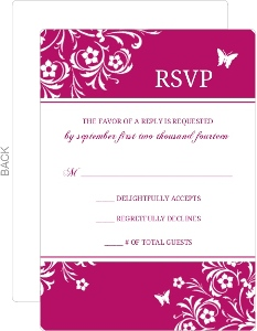 Bright Pink Butterfly Floral Response Card