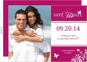 Bright Pink Butterfly Floral Save The Date
