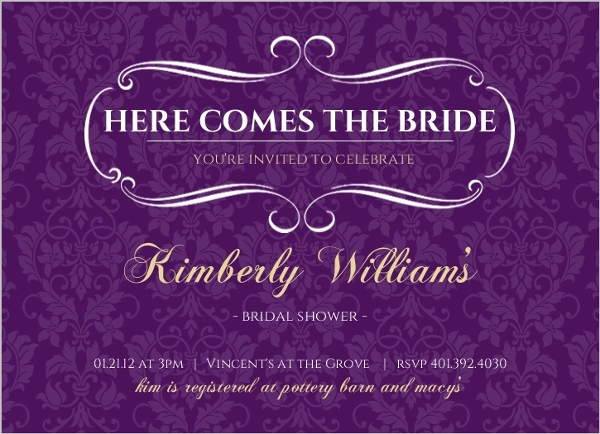 Royal Purple And Gold Bridal Shower Invitation Parties And Showers