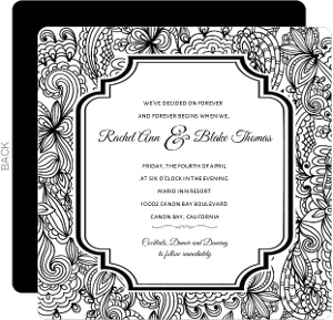 Black and White Lace Wedding Invitation