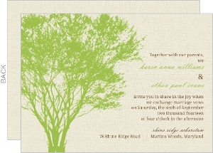 Cream and Green Rustic Tree Wedding Invitation