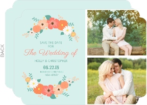 Mint Green Country Floral Save The Date Announcement