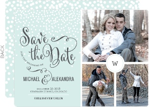 Winter White Dots Save The Date Announcement
