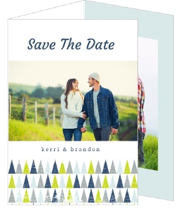 Geometric Snowy Tree Winter Save The Date Announcement
