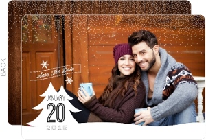 Winter Snow Christmas Tree Save The Date Card