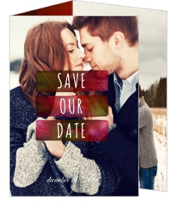 Berry Red Watercolor Christmas Save The Date Announcement